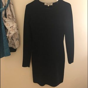 DVF black mini long sleeve dress